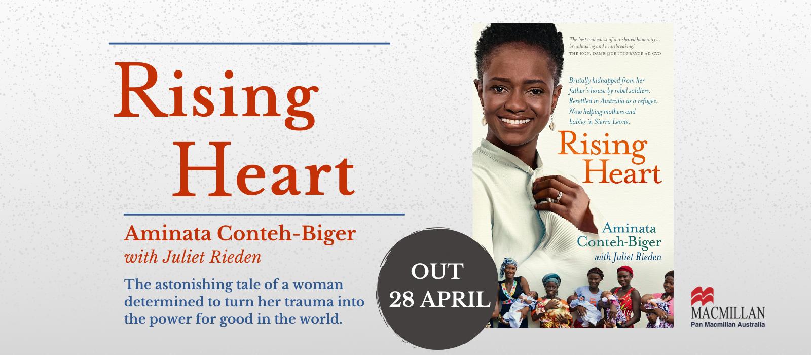 rising heart, book, book cover, australian author, refugee, Aminata Conteh-Biger, Juliet Rieden, Sierra Leone