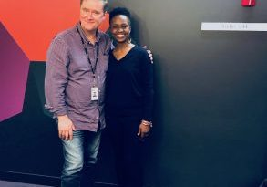 Richard Fidler and Aminata Conteh-Biger before ABC Conversations Interview about her story of overcoming being kidnaped as a teenager in Sierra Leone